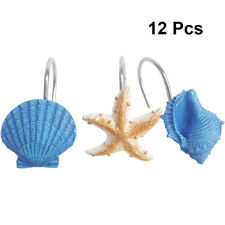 12pcs/Pack Decorative Curtain Hanger for Bathroom (Blue Shell Conch Starfish)
