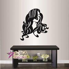 Wall Vinyl Decal Beautiful Woman Girl with Long Hair Beauty Shop Hair Salon 452