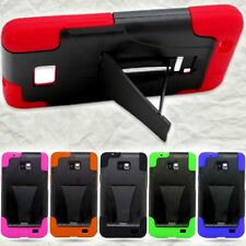 Dual Layer Hard Soft Cover Protective Kickstand Phone Case for Samsung Galaxy S2