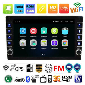 1Din 9in Android 8.1 Car Stereo GPS Navi MP5 Player WiFi BT USB+8LED Rear Camera