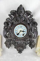 RARE Antique BLACK FOREST wood carved german wall clock caryatid lady head