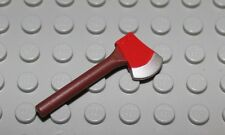 Lego Reddish Brown Minifig Utensil Axe with Red Head and Silver Blade NEW