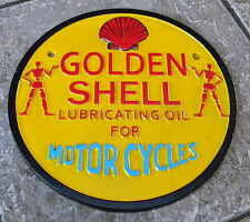 SUPERB CAST IRON GOLDEN SHELL LUBRICATING OIL FOR MOTORCYCLES ADVERTISING SIGN