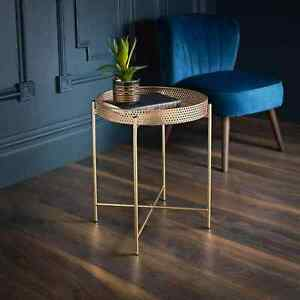 Metal Side Coffee Table With Removable Tray Top Living Room Gold-0358