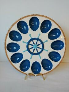 """Nautical Anchors Home Accents Deviled Egg Dish Blue & White NEW 10.5"""""""