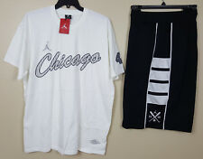 NIKE JORDAN CHICAGO 45 BARONS OUTFIT SHIRT + SHORTS WHITE BLACK (SIZE 2XL 3XL)