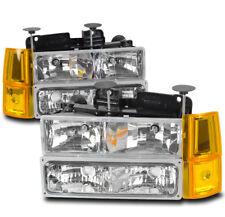 94-98 GMC C/K C10 1500 2500 SUBURBAN YUKON HEADLIGHTS W/BUMPER+CORNER LAMP CLEAR