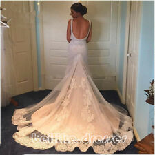 New Backless Lace Mermaid Wedding Dress Bridal Gown Custom Made Plus Size 2-28