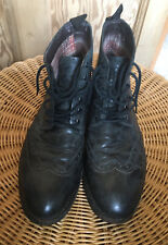 CLARKS Dark Grey Leather Brogue 6 Eyelet Ankle Boots Goodyear Welted UK 9