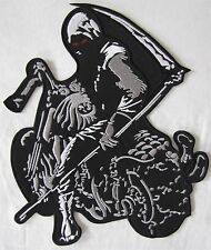 Rare Grande Grim Reaper Esqueleto De Motociclista Bordada Parche Insignia de costura