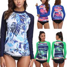 New listing Women Long Sleeve Rash Guard Swimwear UPF50+ Surfing Sun Shirt UV Protection Top