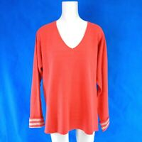 Repeat Ladies Knitted Sweater Size 40 L Orange Beige Stripes Soft Np 159 New