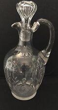 Claret Decanter  Cut Polished  , Teardrop  Bubble Stopper Applied Handel