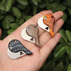 1*Outdoor Fishing Camping Folding Blade Heart Shape Keychain Pocket Knife Tool