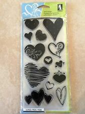 Inkadinkado Clear Acrylic Stamps 4 Inch X 8 Inch Sheet-Hearts 97637 NEW