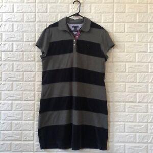 Tommy Hilfiger velour navy gray stripe polo dress