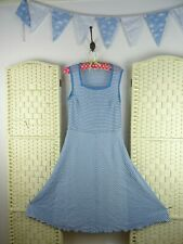 VINTAGE knitted polyester stretchy striped boho/festival/70s nautical  dress S/M