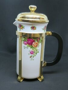 Royal Albert Old Country Rose Cafetiere/Coffee Pot - Vintage Bone China