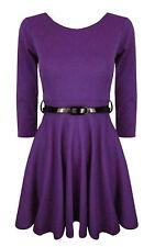Girls Plain Retro Skater Dress Long Sleev With Belt Age Size 7 9 11 13 Years Purple 7-8 Years