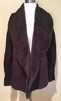 NWT Women's Brown Chelsea & Theodore Faux Fur Long Sleeve Open Cardigan Small