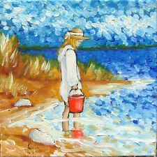 Peinture de CARIN  20 x 20 cm enfant été au lac de sanguinet impressionisme