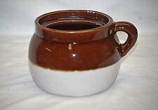 Old Vintage Primitive Stoneware Pottery Bean Crock Pot Jar Brown Cream 1 Handle