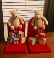 Vintage Disney Classic Winnie The Pooh Wood Block Bookends designed by GUND