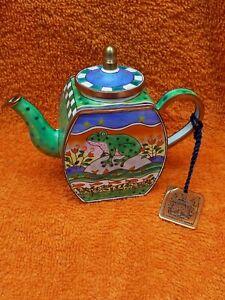Rare Collectable Metal Enamel Miniature Frog Teapot C. Maddicott 687 1996