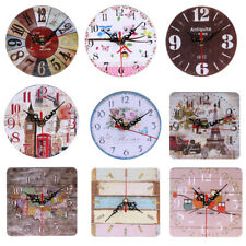 Vintage Wooden Wall Clock Large  Shabby Chic Rustic Kitchen Home Office Decor