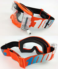 100% PERCENT STRATA MX MOTOCROSS GOGGLES ORANGE with GSVS ROLL-OFF SYSTEM tvs