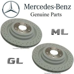 For Mercedes X166 GL W166 ML Class Pair Set of 2 Rear Brake Disc Rotors Genuine