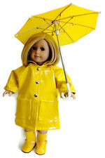 Yellow Rain Coat, Boots, & Umbrella made for 18 inch American Girl Doll Clothes