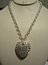 Clear Crystal Stud On Silver Ton Big Heart Pendant Silver Tone Link Necklace