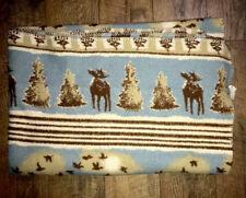 Woolrich Home Blanket Throw Blue Deer Moose Rustic Fleece 50 X 68 Vtg Cabin Nice