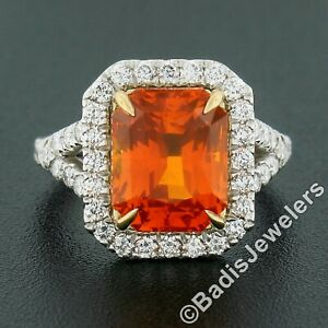 NEW Platinum & 18K Gold 7.78ct GIA Vivid Orange Sapphire & Diamond Cocktail Ring