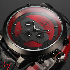 SHARK Military Day Date Analog Army Steel Sport Leather Men's Quartz Watch Red