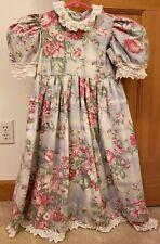 Vintage Posies Green Plaid Dress W/Pink Flowers Girls Size 6X Crochet/Lace Trim