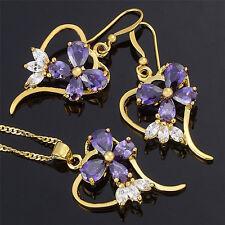 Schmuck Jewelry Set Purple Amethyst Pear Cut Necklace Pendant Earrings