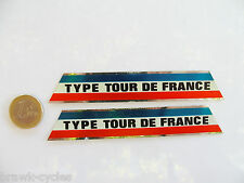 2 Autocollants TYPE TOUR DE FRANCE, Gitane, Mercier.... Neuf,Nos 1960's stickers