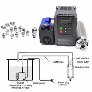 4Bearing CNC Spindle Motor Water-Cooled 800W ER11+VFD Inverter+Collet+Bracket