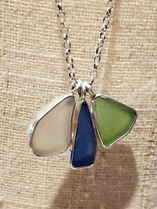 Chris Bales 925 Sterling Silver Handmade Beach Glass Necklace Blue Green NWT