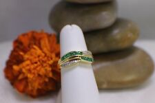 Solid 14K Yellow Gold Emerald & Diamond Band Ring sz 6.5 Designer Channel Set