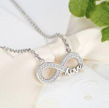 Kette Halskette Silber Unendlichkeit unendlich Sterlingsilber 925 Strass Glitzer