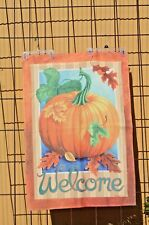 """Country Pumpkin Large Yard Flag Garden House Banner 40"""" x 27"""", sleeved Free Ship"""