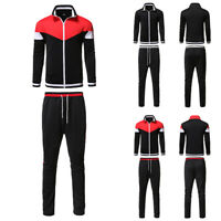 Mens Tracksuit Set Zip Track Tops Joggers Pants Gym Sports Lounge Wear Suit 2PCS