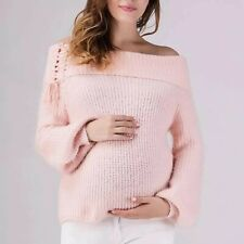 Pink Off the Shoulder Over Sized Knitted Maternity Jumper Size 12 14