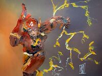 Original Abstract The Flash Running Palette Knife Painting Comic Wall Art 16""