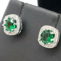 Large 1CT Round Emerald Halo Stud Earrings Women Jewelry 14K White Gold Plated
