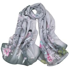 Gray Women Long Birds Cotton Scarf Wrap Ladies Shawl Girls Large Silk Scarves