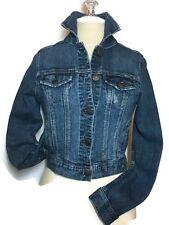Celebrity Pink Jean Trucker Jacket Small Distressed Stretch Denim Boho Womens